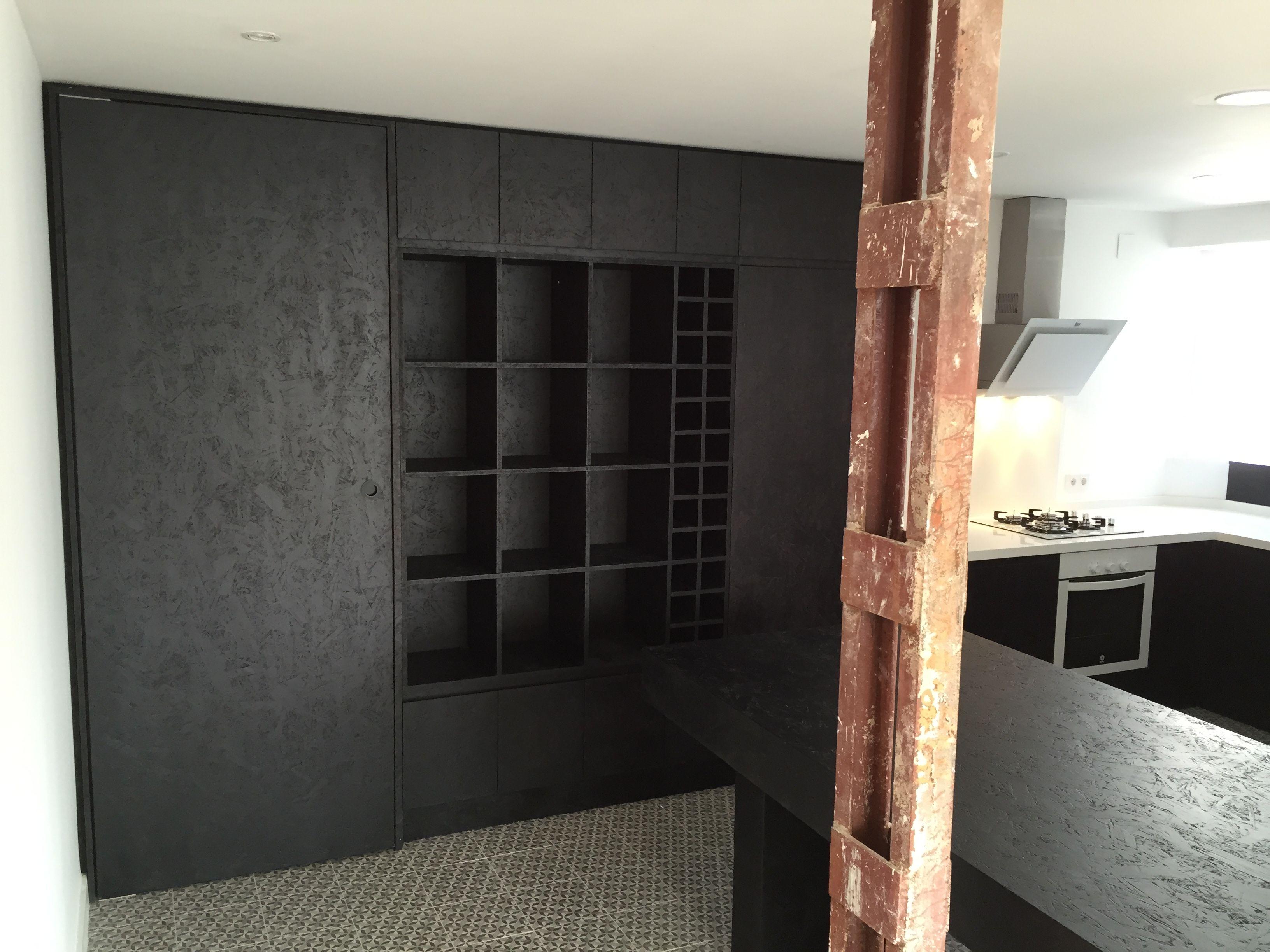 Mobiliario de #cocina, fabricado con tablero OSB, tintado en color ...