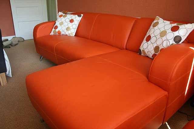 Wonderful Modern Minimalist Orange Sofa White Color Cushion Design ...