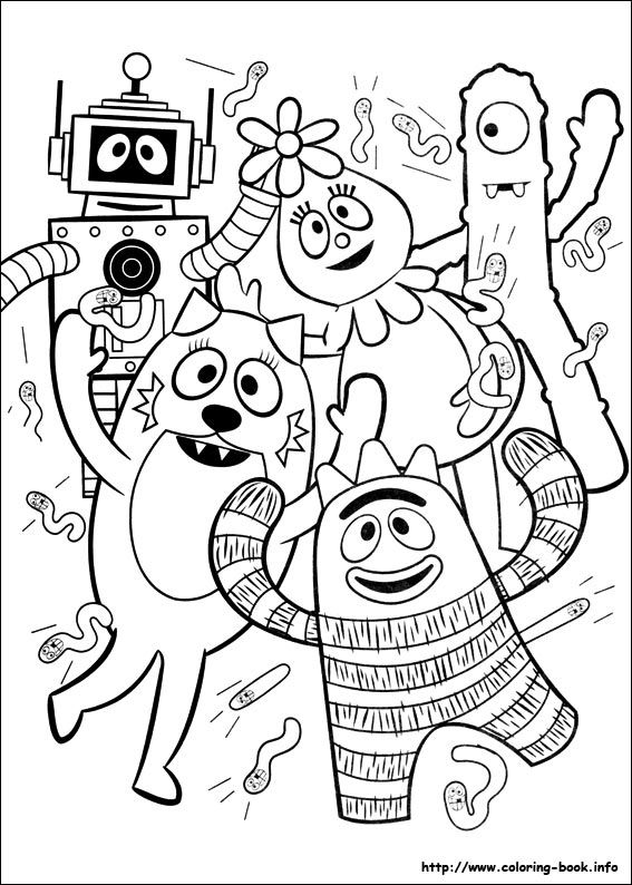 Yo Gabba Gabba! coloring sheets. Used these for Landon's