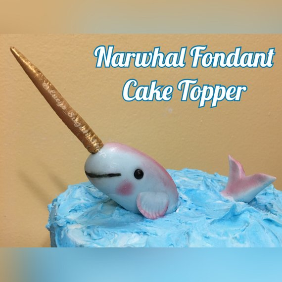 2 Pc Set Narwhal Fondant Cake Topper Products Pinterest Cake