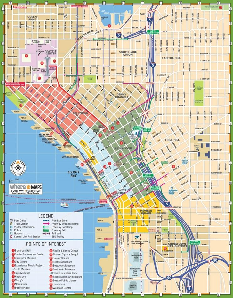 Seattle tourist map in 2019 | Seattle travel, Tourist map ...