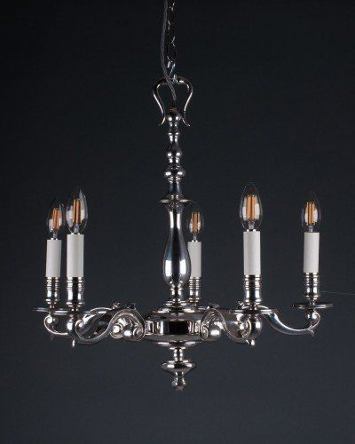 Gothic lighting supplied and beautifully restored by fritz fryer lighting quality 5 branch silver plate chandelier antique lighting
