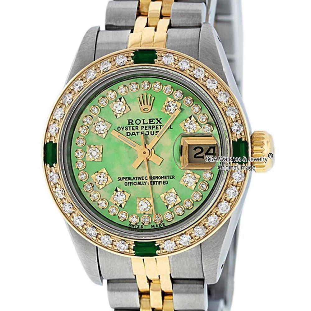 Rolex Womens Datejust Watch S Steel 18k Yelllow Gold Green Mop Diamond Dial Rolex Luxury Rolex Women Rolex Rolex Watches