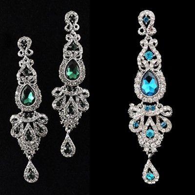 Nova Moda de Luxo de Prata Banhado A Big Black Crystal Brincos Longos Gota de Casamento Mulheres Acessórios Brincos
