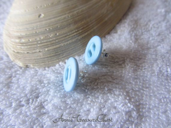 Light Blue Button Post Earrings by AnnieTreasureChest on Etsy