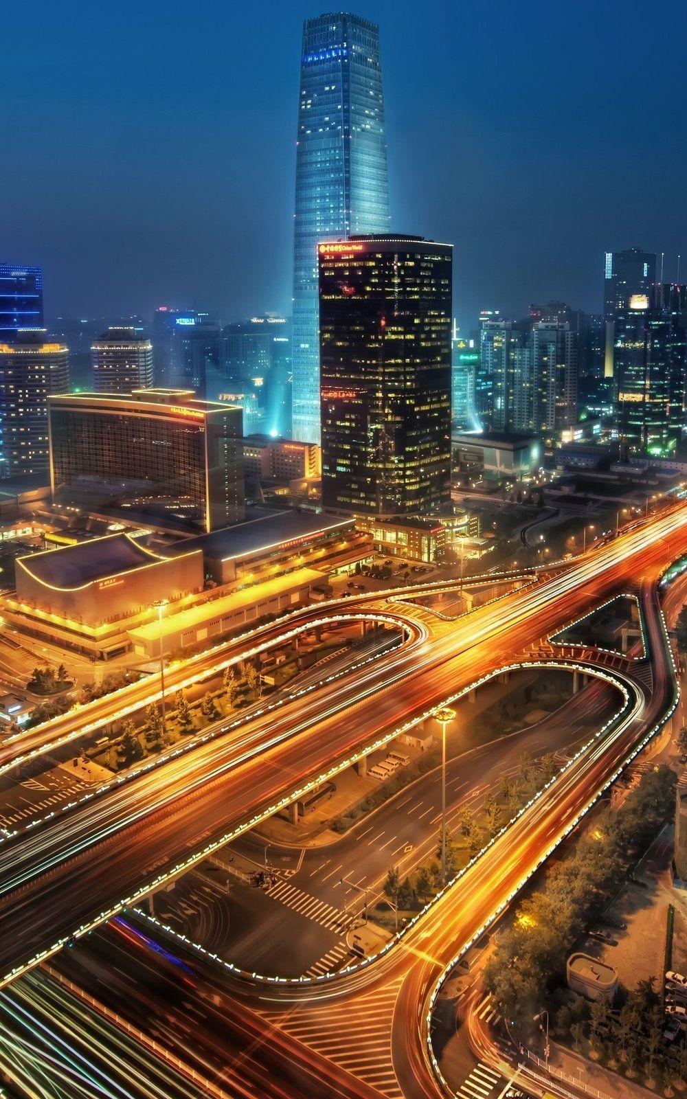 City At Night Long Exposure Mobile Wallpaper (iPhone