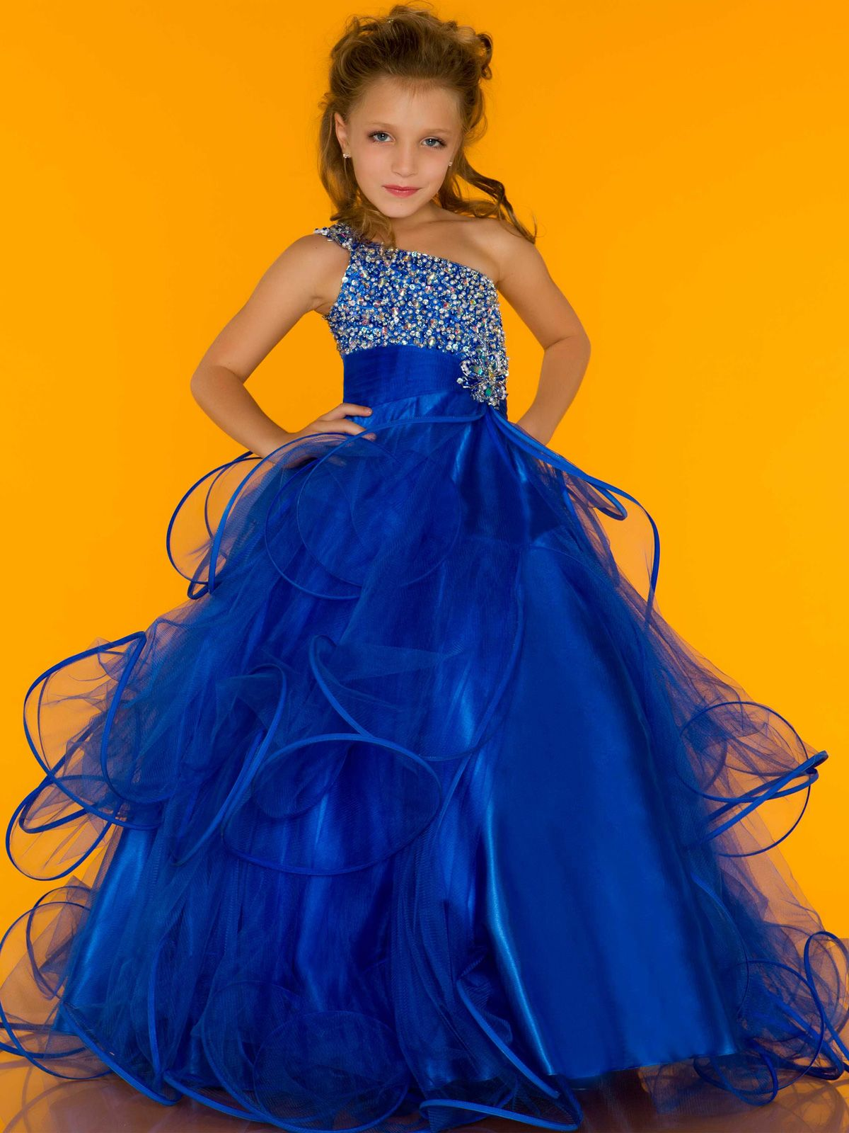 Give your little girl the 2013 hot one shoulder cute little girl's pageant  dresses rhinestone beads tulle flowers skirt in as a good gift and have her  shine ...