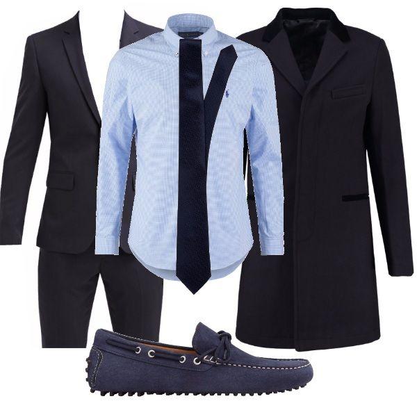 premium selection be504 a4e37 Per questo outfit: completo blu scuro, camicia azzurra con ...