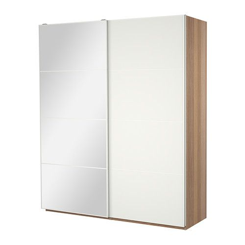 PAX Wardrobe with sliding doors White stained oak effect