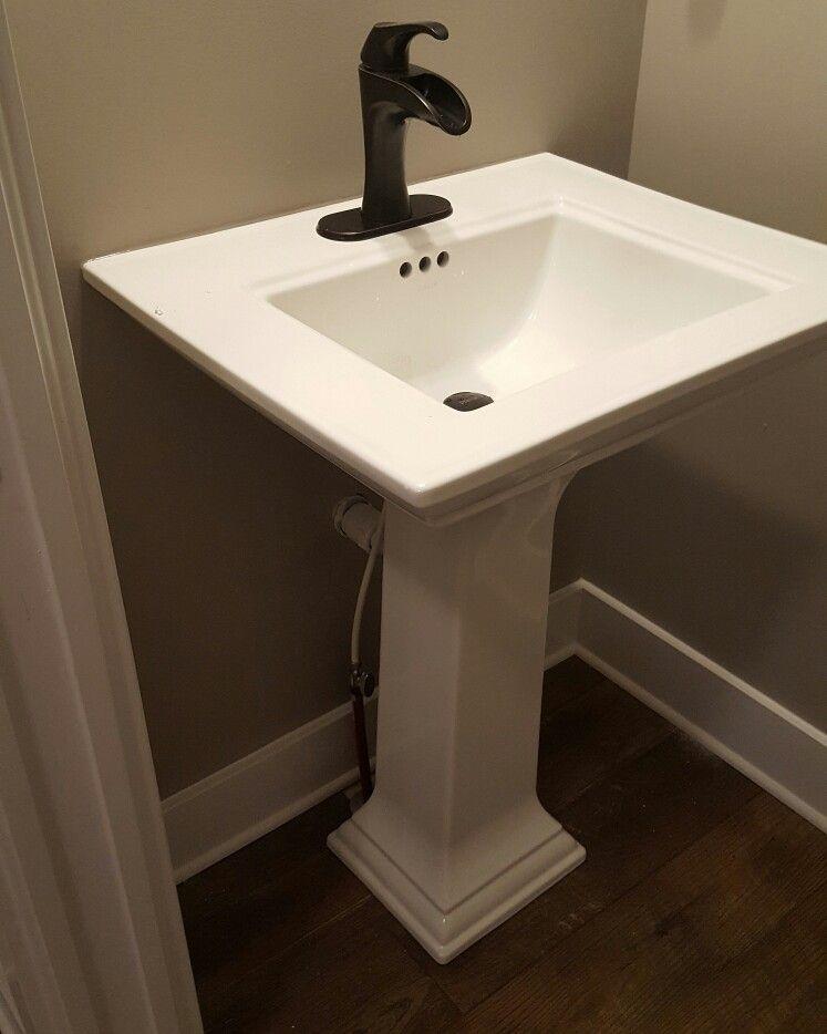 Half bath Kohler sink and Pfister faucet | #pfeiferpfarmhouse ...