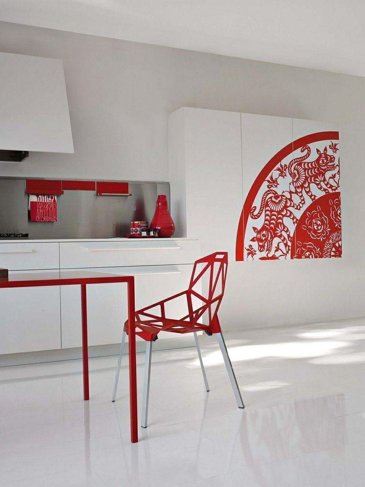 50 idées originales pour la déco cuisine rouge à vous faire découvrir - deco salon rouge et blanc