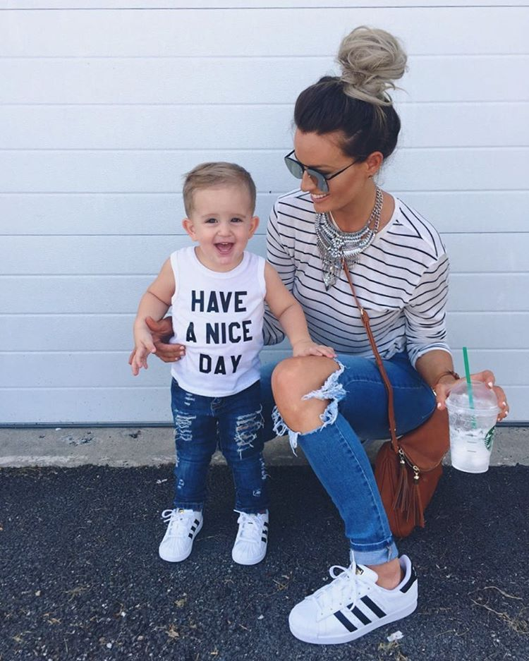 mother daughter adidas superstars outfit | By Lauren M