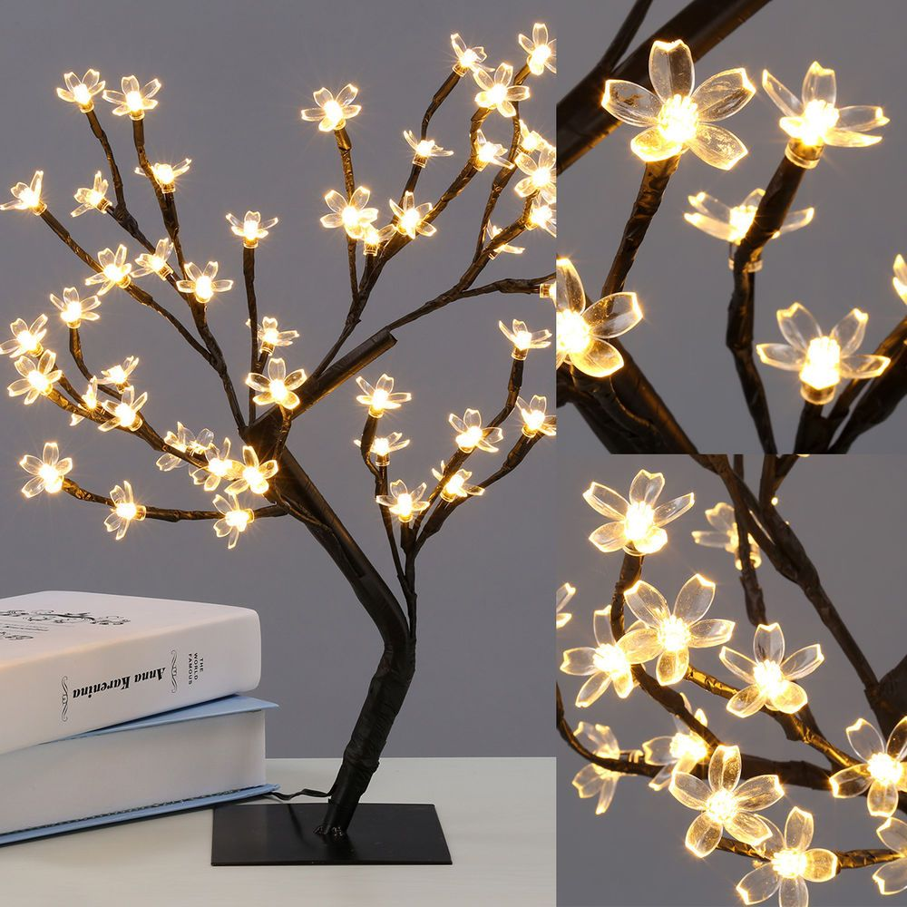Wedding decorations trees with lights  CM LED Cherry Blossom Bonsai Sakura Tree  LED Fairy Lights Table