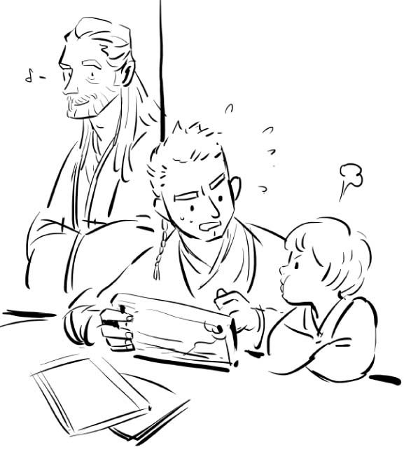 Qui-Gon, Obi-Wan and little Anakin