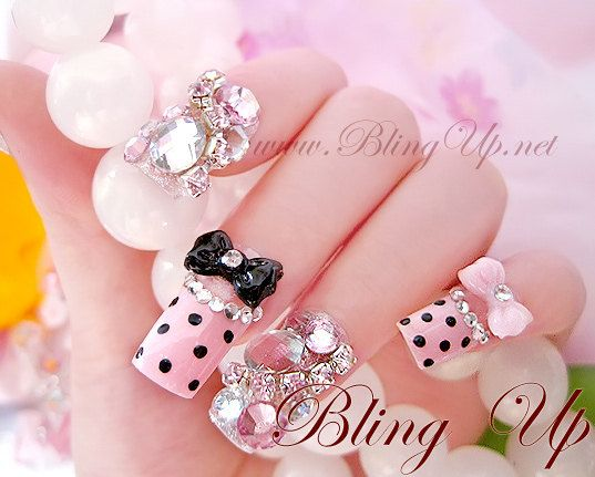 Art Japanese Nail Pink French Tips With Dots Bow Ribbons And Large Rhinestones I Saw A Lot Of These For Sale In Japan So Outrageous Couldnt