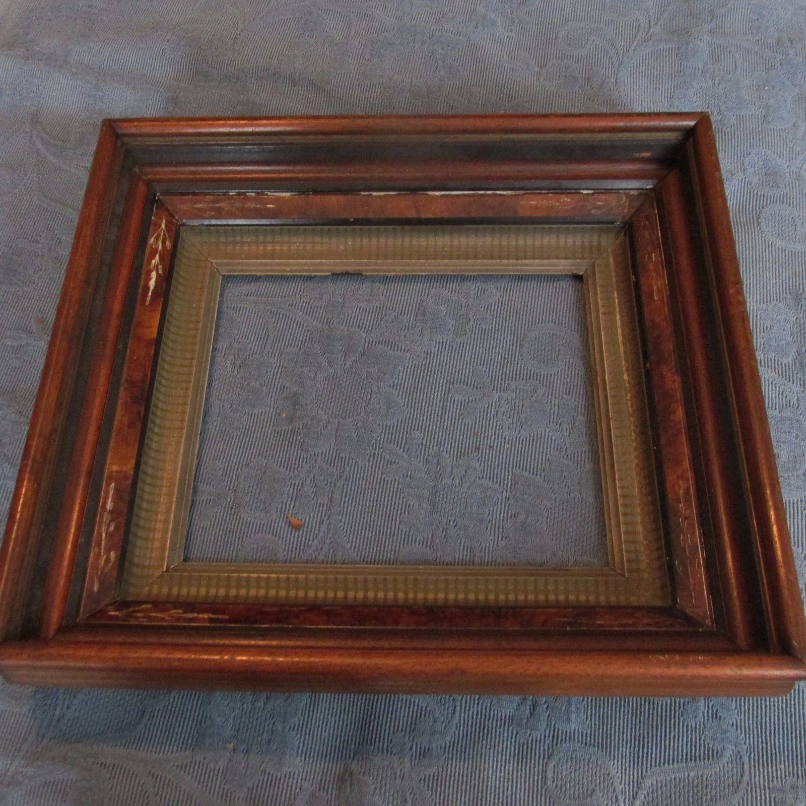 """Custom cut 1//8/"""" wide Brown Wood Stained Fillet Trim to accent Mat Picture Frame"""