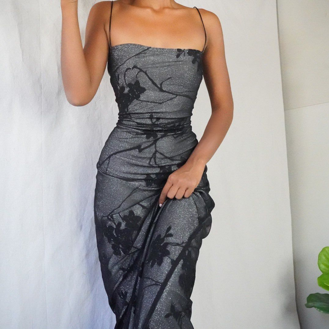 Masha Jlynn On Instagram Sold Vintage 90s Silver Glitter Gown With A Black Mesh Burnout Layer Stretchy Material And Pull On Fashion Dresses Cute Dresses [ 1076 x 1076 Pixel ]