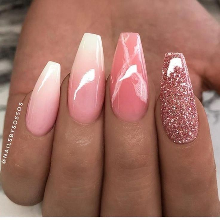 Pink White Glitter Ombre Coffin Acrylic Fingernails Manicure French Tip Square Shaped Long Nails Ombre Acrylic Nails Coffin Nails Designs Nail Art Hacks