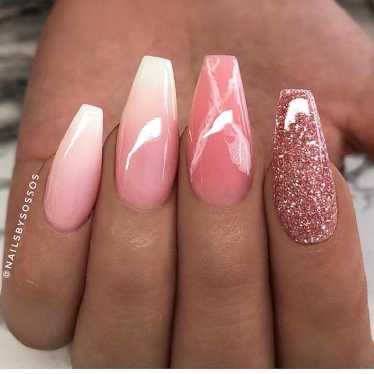 Cute Glitter Acrylic Nails Designs Square Shape