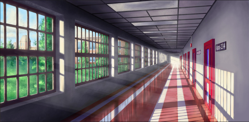 School Hallway Strong Key Light en 2019 Paysage manga