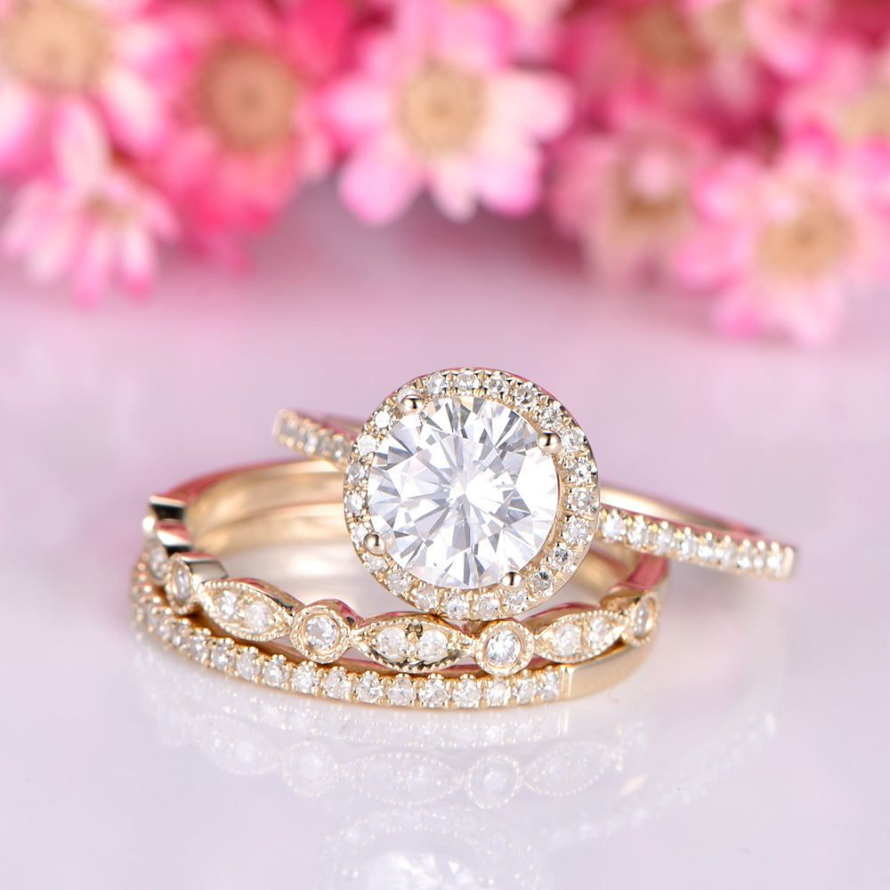 Moissanite ring set moissanite engagement ring 7mm stone half ...