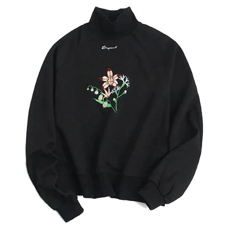"85db9329 BLACK SWEATSHIRT TURTLENECK FLOWER EMBROIDERYUse coupon ""ITPIN"" to get 10%  OFF entire order - itgirlclothing.com | itGirl Shop #kfashion #korean  #fashion ..."