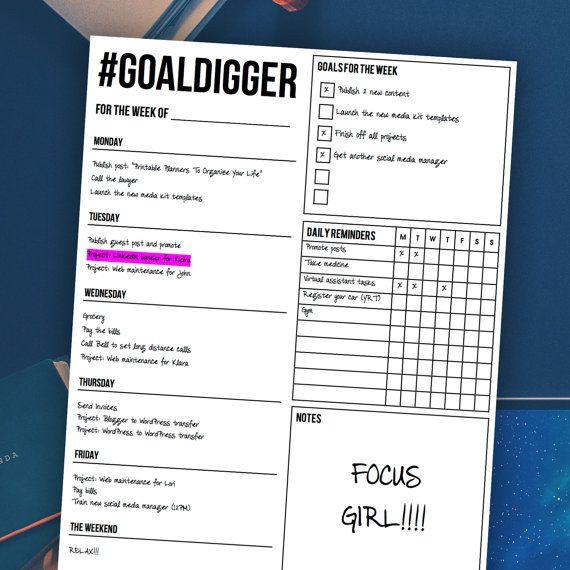 Weekly Planner #GOALDIGGER Weekly Planner Printable   Weekly - weekly agenda