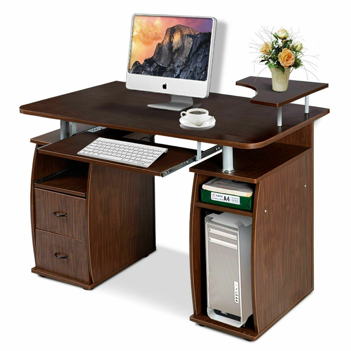 Computer PC Desk Work Station Home Office Monitor&Printer