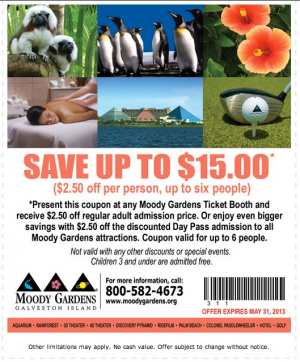 $15 Coupon To Moody Gardens In Galveston, Texas Idea