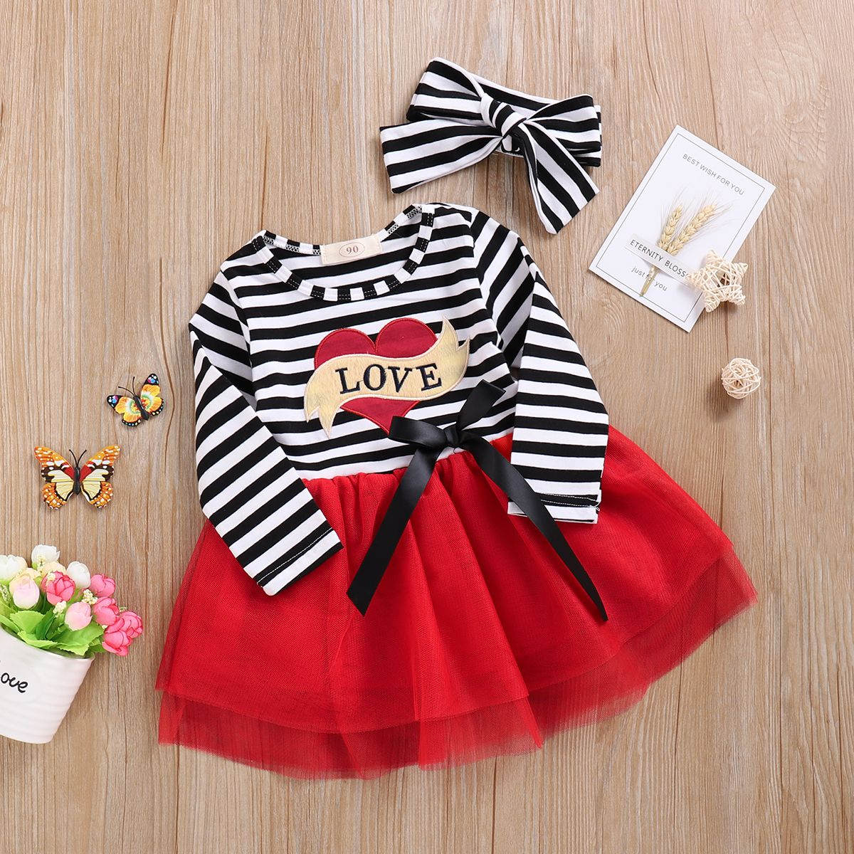 Toddler Girls Valentines Day Outfits Baby Love Print Striped Long Sleeve Dress Tutu Skirt Playwear with Headband