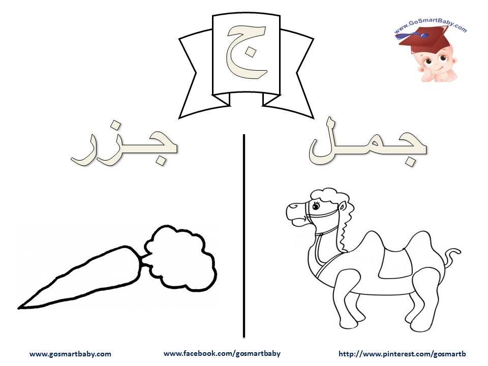تلوين الحروف العربية حرف الجيم ج Arabic Alphabet Lettering Alphabet Alphabet
