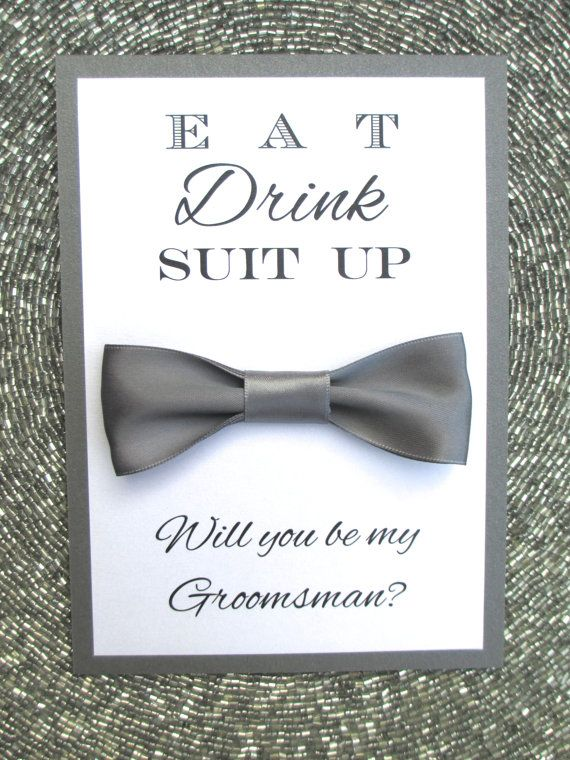 will you be my groomsman card bow tie bridal party invitations