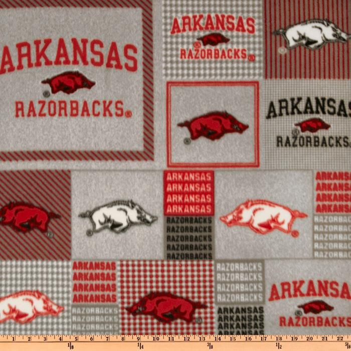 Collegiate Fleece University of Arkansas Blocks - Fabric Buy UK