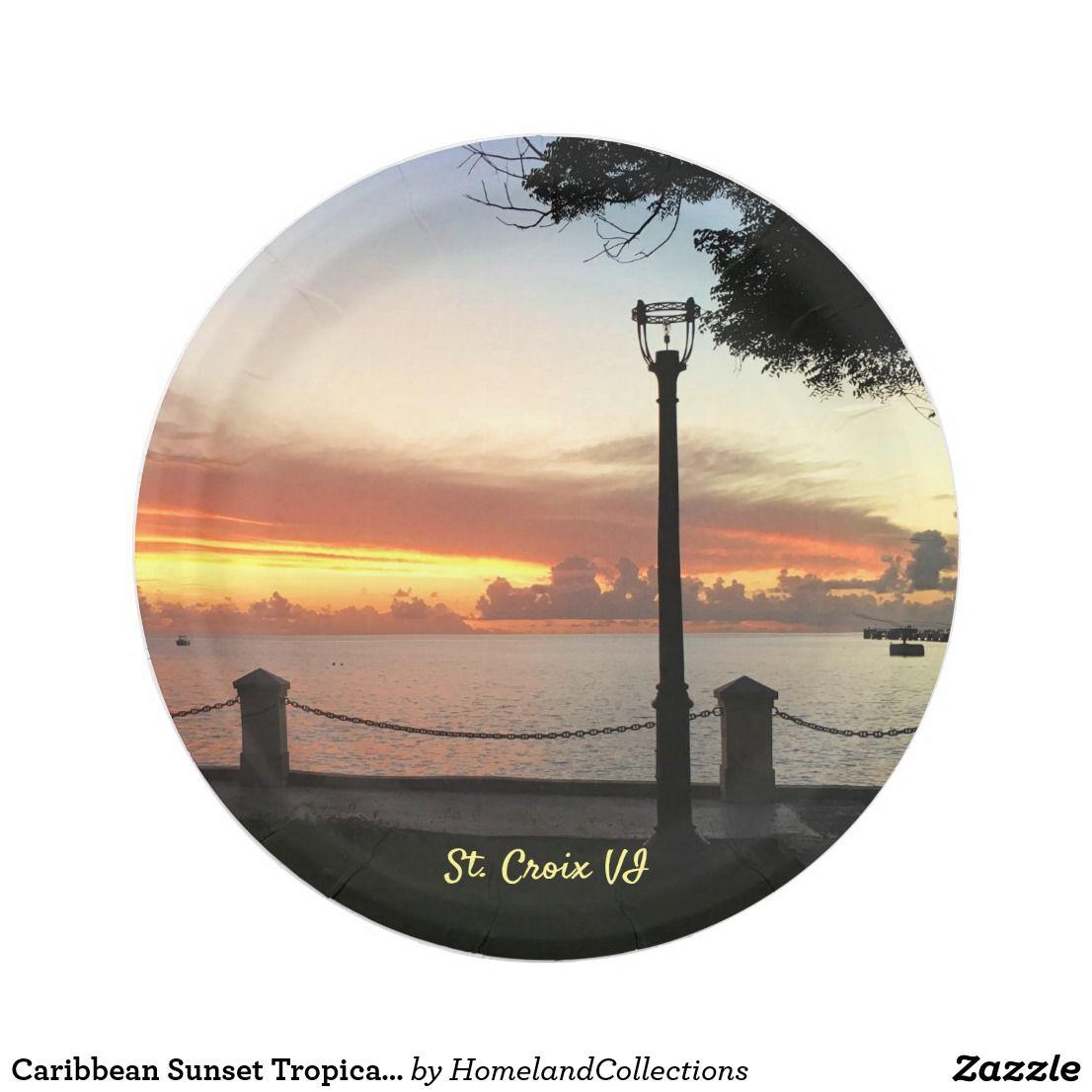 Caribbean Sunset Tropical Personalize Paper Plate Zazzle Com Caribbean Island Theme Caribbean Gift