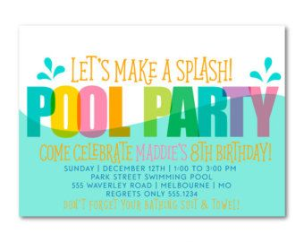 INSTANT DOWNLOAD End of School Party Pool Party Invitation End