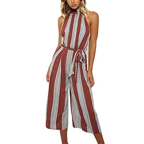ade6ac1671 CHICFOR Women s Elegant Striped Halter Jumpsuit Backless Wide Leg Ankle  Length Pants Cotton Playsuit Romper with Belt