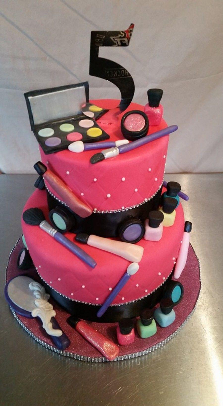 Make Up Theme Cake Make Up Cake Makeup Birthday Cakes