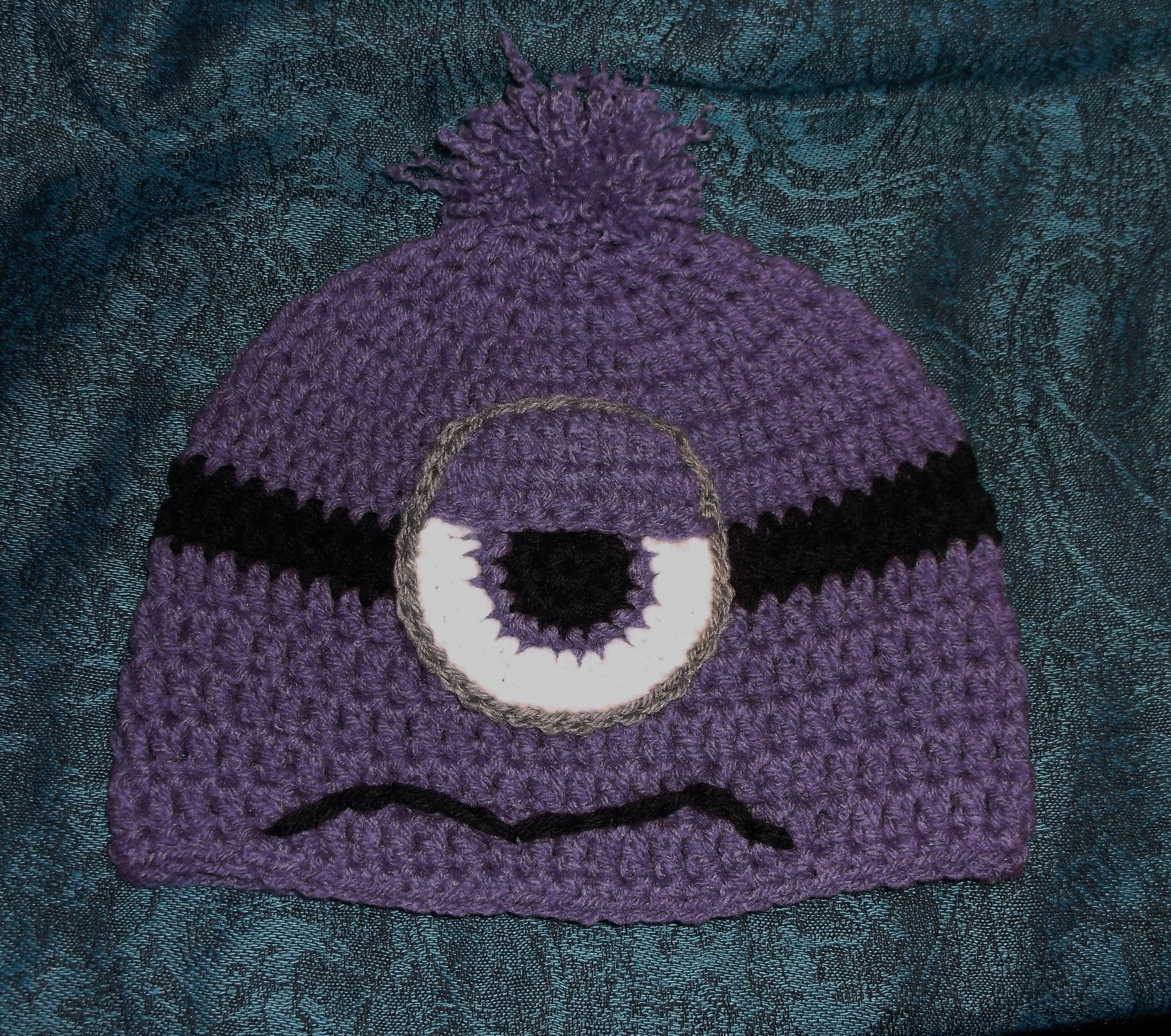Crochet Purple Minion Hat ~ no pattern | Crochet Hats / Headbands ...