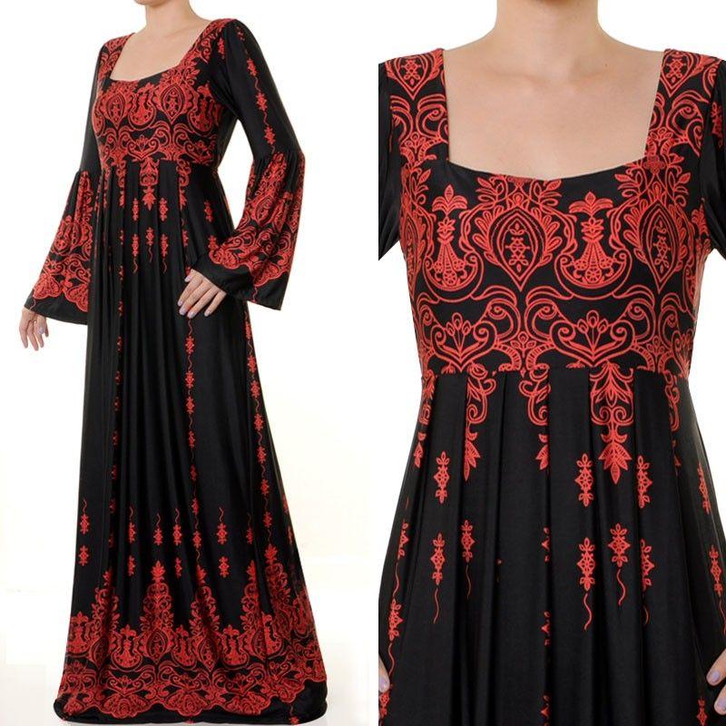 5009 Square Neck Empire Pleated Abaya Dress Plus Size 3x4x Us40