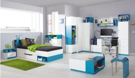Jugendzimmer Komplett Set B Geel, 9teilig, Weiß
