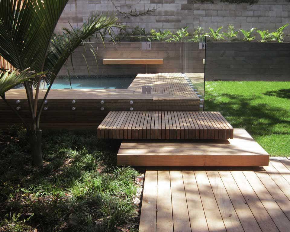 Backyard Landscape Or Platform Steps Leading Up To The