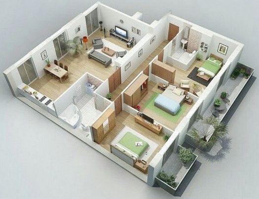 Denah Rumah Minimalis 3 Kamar Tidur 3d Sederhana Denah Rumah
