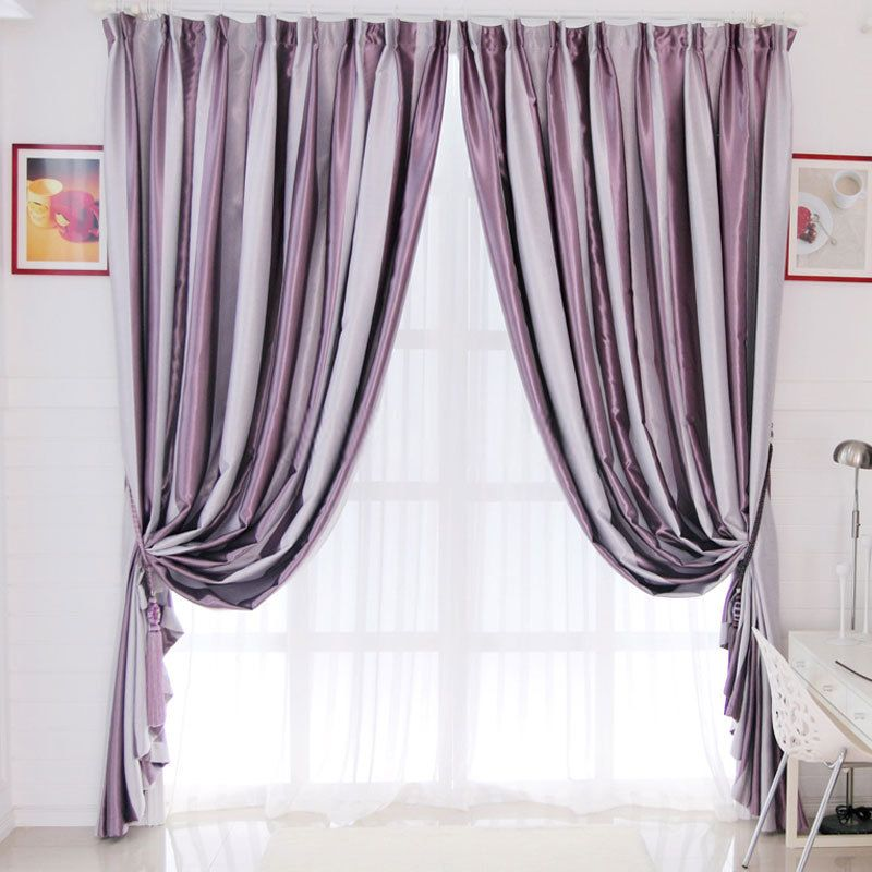 SHEER CURTAINS PURPLE AND GREY LIVING ROOM