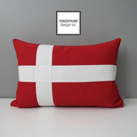 Danish Flag Pillow Cover Denmark Flag Decorative Pillow Case