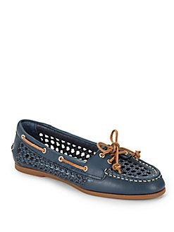 Audrey Cane Woven Leather Boat Shoes