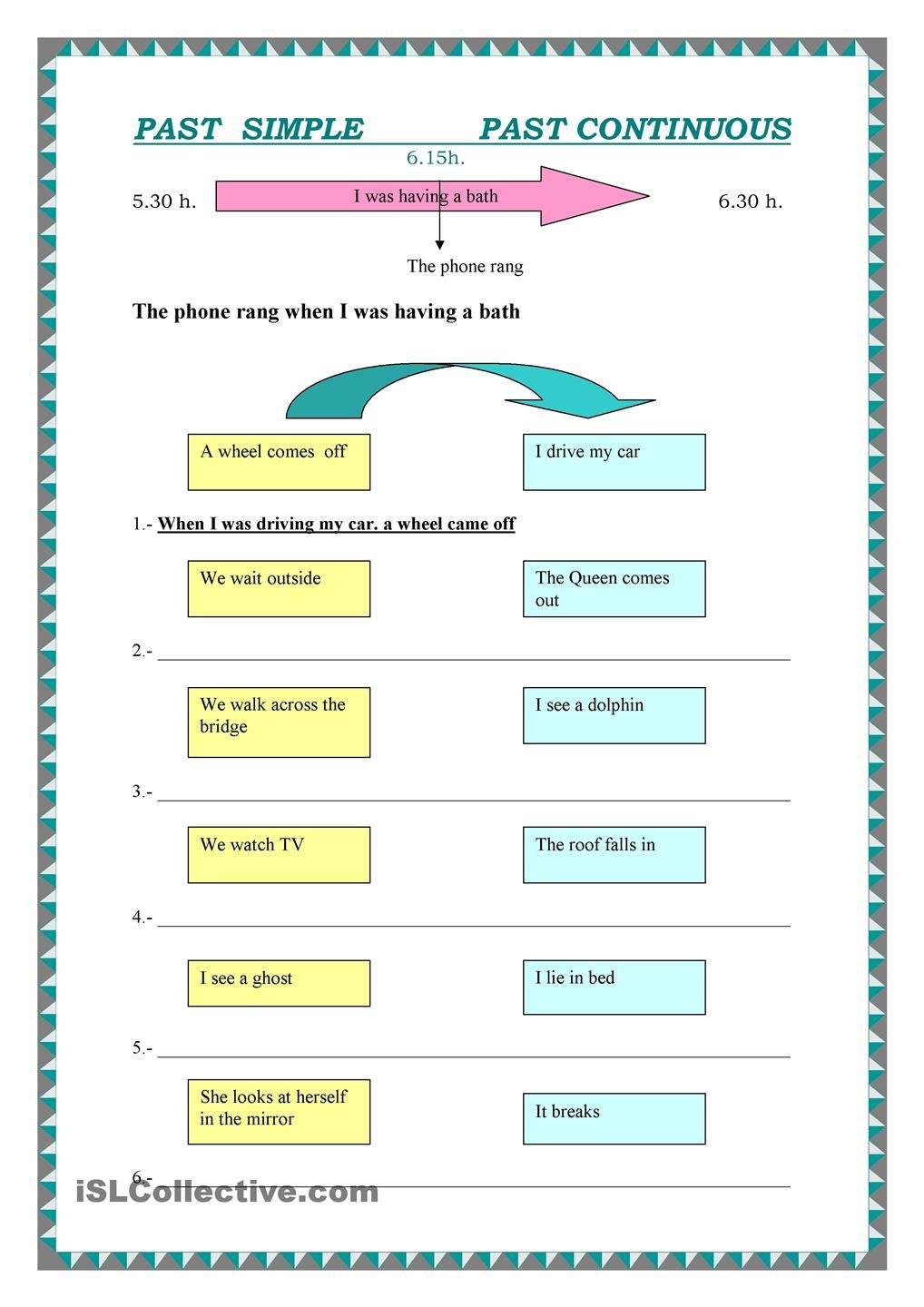 Join the sentences in the boxes using Past Simple and Past Continuous + key  Past simple vs continuous tense, Reading, Speaking, Writing, Elementary ...