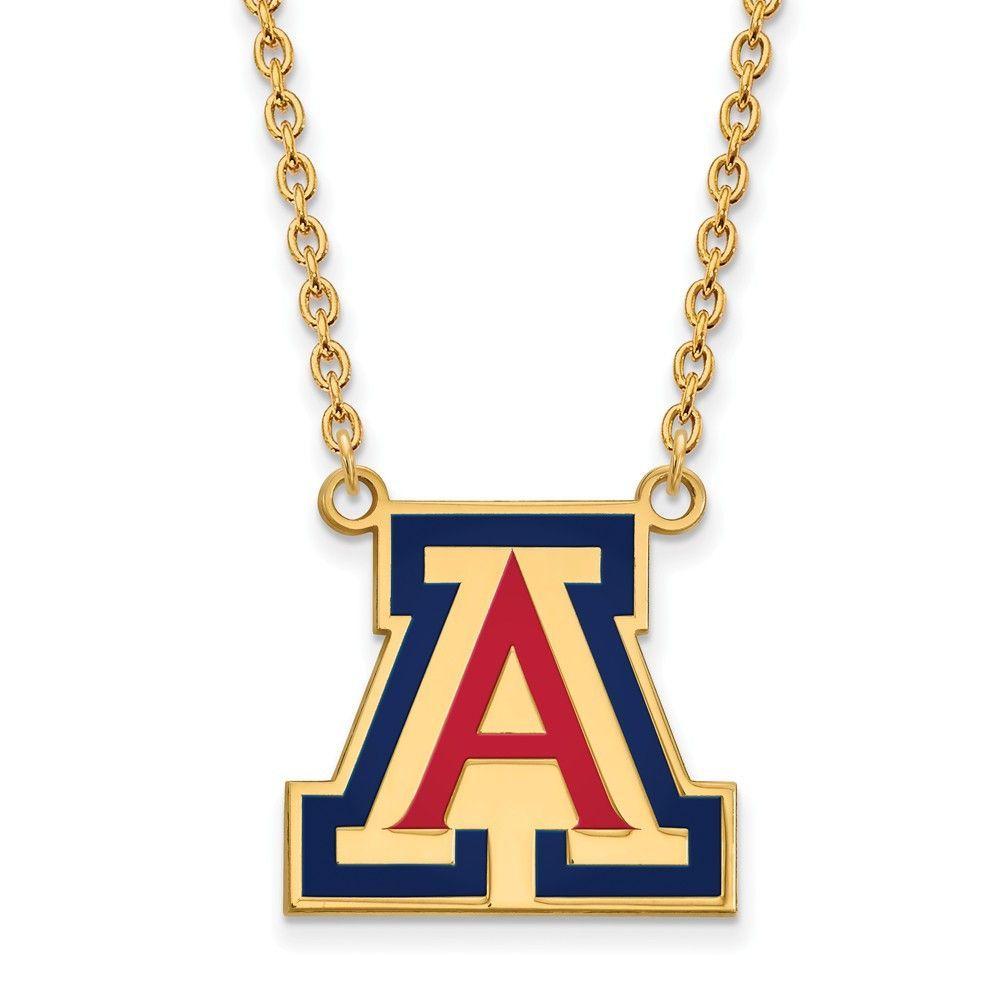 Sterling Silver w/GP LogoArt U of Arizona Large Enamel Pendant w/Necklace