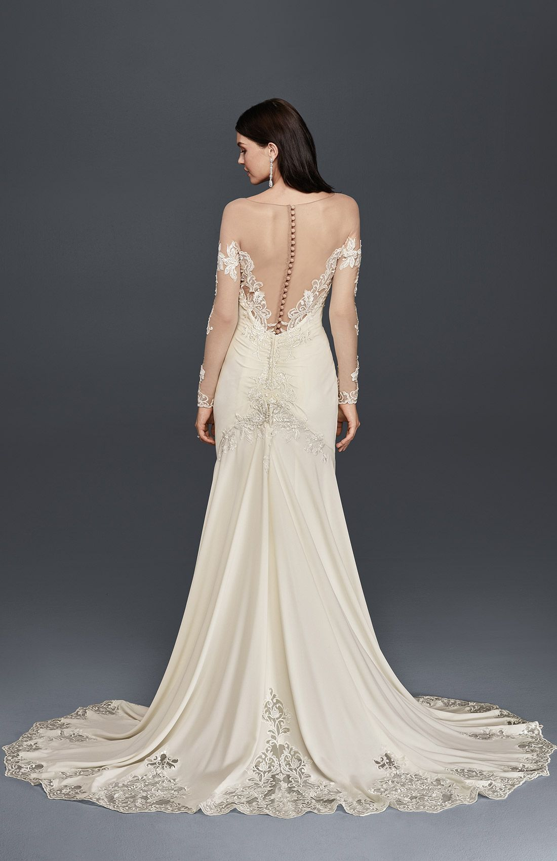 crepe wedding dress with lace inset train | david's bridal spring
