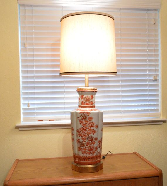 Floral oriental style frederick cooper ceramic table lamp vintage frederick cooper floral table lamp with frederick cooper lamp shade aloadofball Images