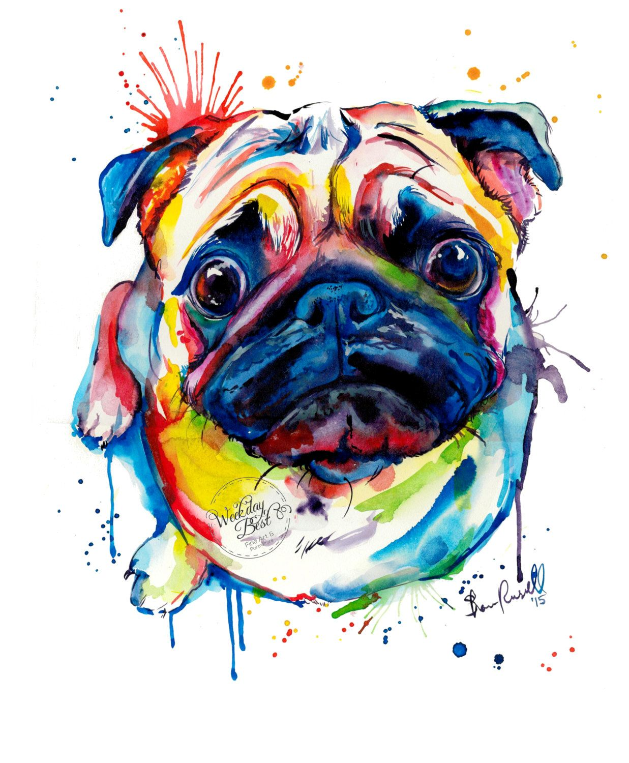 Colorful Pug Art Print - Print of my Original Watercolor Painting ...